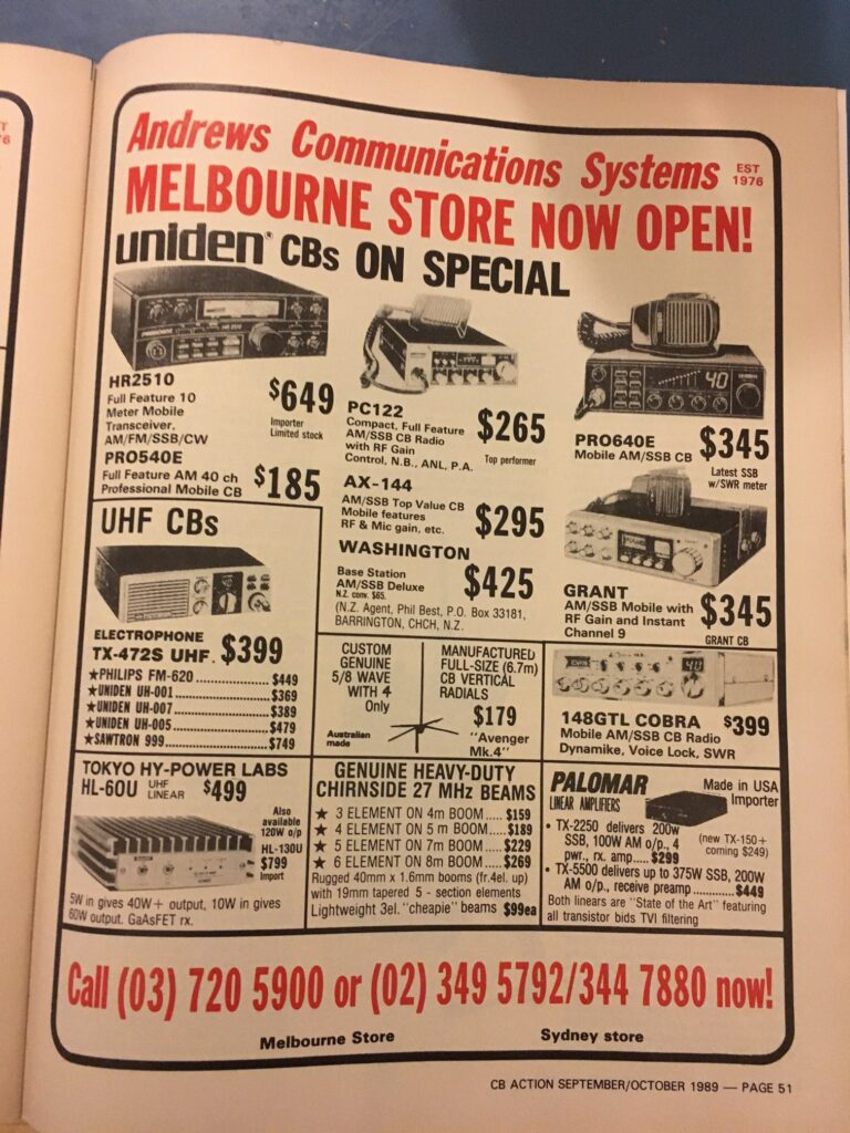 A CB Radio advertisement page